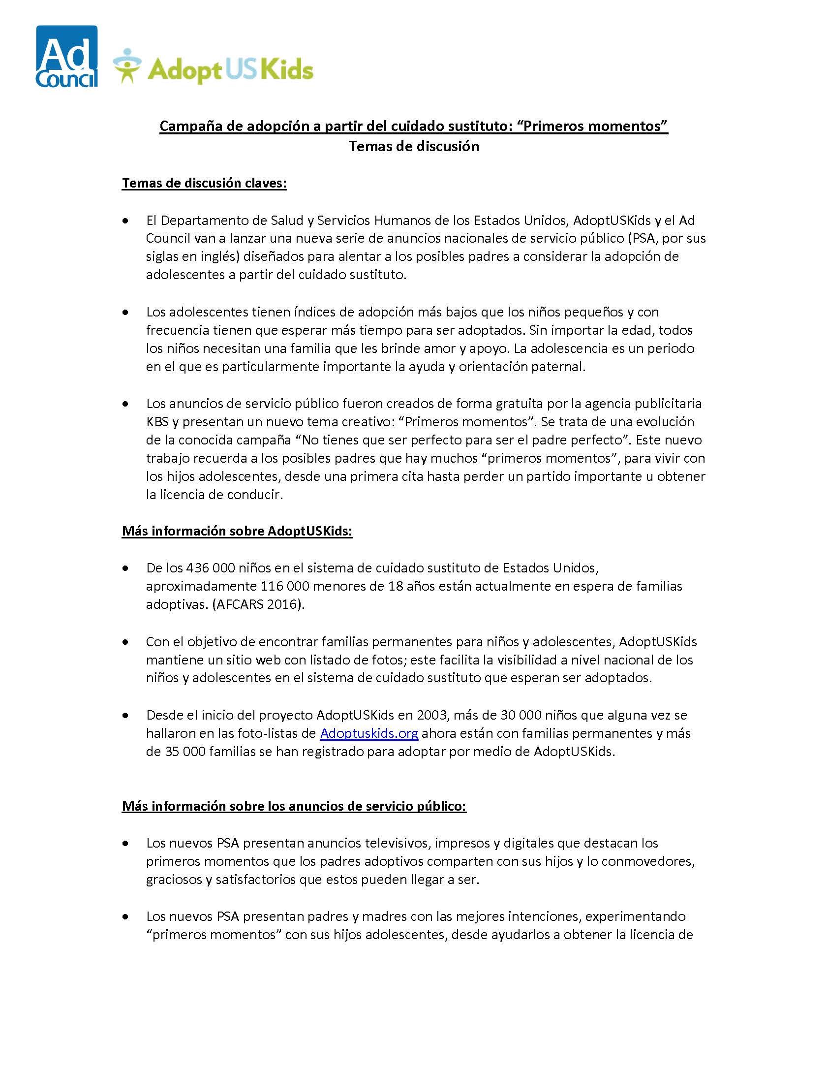 Adoption PSA Launch 2018 Talking Points_Spanish FINAL_Page_1